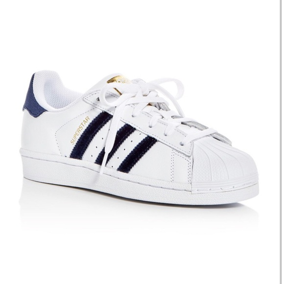 NWT Rare Velour Adidas Superstar Shoes in Navy NWT